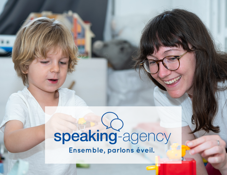 Logo speaking agency and photo adult and child